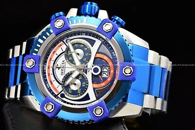 Invicta 63mm Reserve Grand Octane Arsenal Joker Dial Swiss Two Tone Blue Watch