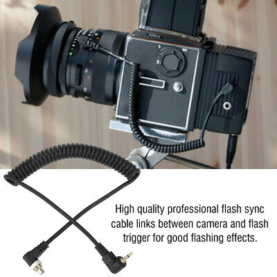 100cm 2.5mm to Male Flash PC Sync Cable Cord w/ Screw Lock Extended Coiled Wire