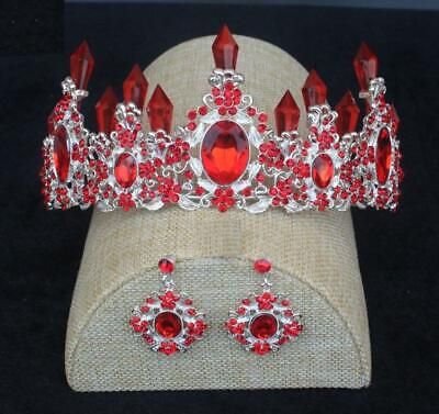 Red RHINESTONE CRYSTAL BEAUTY QUEEN TIARA CROWN BRIDAL PAGEANT CLIP ON earrings