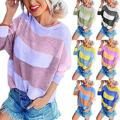 Womens Ladies Striped Dolman Long Sleeve Baggy T-Shirt Blouse Casual Tops Tee