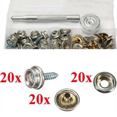 62Pcs Stainless Steel Screw Snap Fastener Kit Press Studs For Boat Canvas Cover