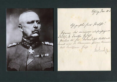 GENERAL Erich Ludendorff autograph, signed note mounted