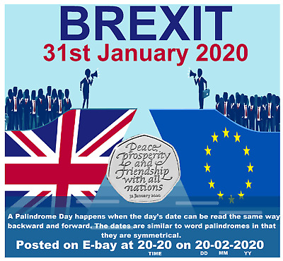 B/U Brexit 2020 50P Coin Listed At 20:20 On 20-02-2020 Only 5 Available.