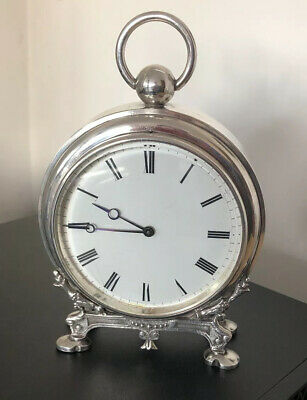 Superb Antique French Silver Plated Novelty Pocket Watch Mantle Clock 1900