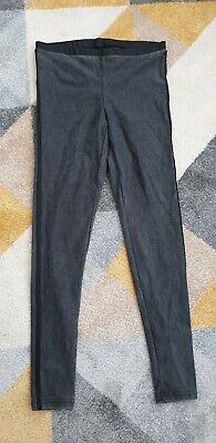 Women topshop grey Black Leather Look Panel Leggings jeggings Trousers size 14