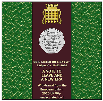 Brexit 50p uncirculated from sealed bag posted at 2.02pm on20-02-20 2 available