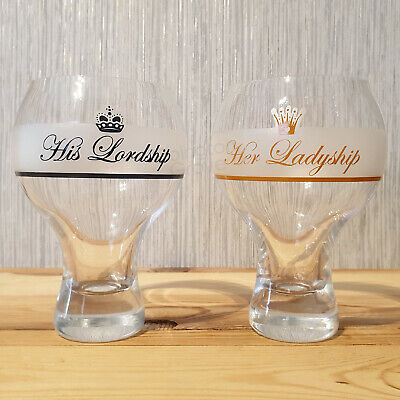 Set of 2 His & Hers Glasses 500ml Large Wine Gin Cocktail Drinks Balloon Gift