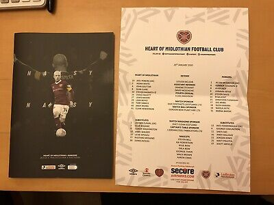 Hearts V Rangers Premiership Programme And Copy Of Team Sheet 26/01/2020