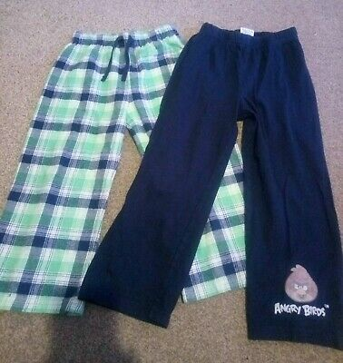 Boys Pyjamas Bottoms 4-5 Years X2 100% cotton. M&S and Angry birds.