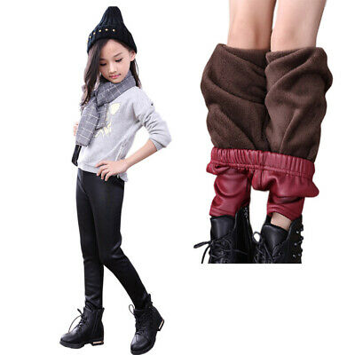 Cute Kids Girls Shiny Winter Plush Stretch Faux PU Leather Tight Leggings Pants