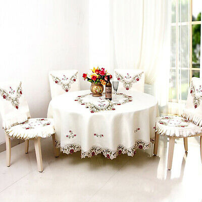 Embroidered Tablecloth Floral Lace Round Table Cover Dining Banquet Decoration