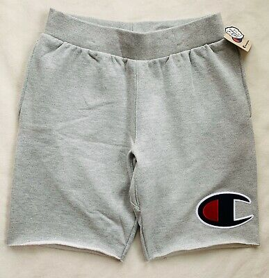 CHAMPION Life Mens Reverse Weave Big C Logo Patch Cut Off Shorts Grey NWT LARGE