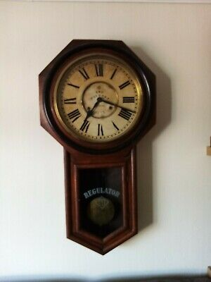 Antique Ansonia Striking 8 Day Regulator A Large School Drop Dial Wall Clock