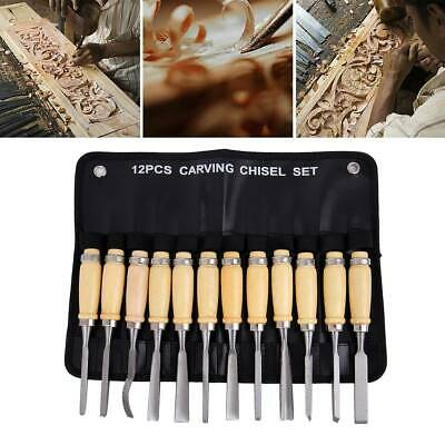 Wood Carving Hand Chisel Tool 12Pcs Set Professional Woodworking Gouges Steel