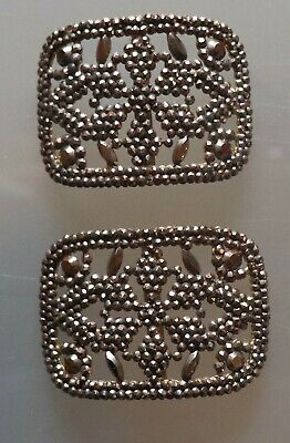 02/20   Pair of Antique French Gold Steel Cut Shoe Buckles