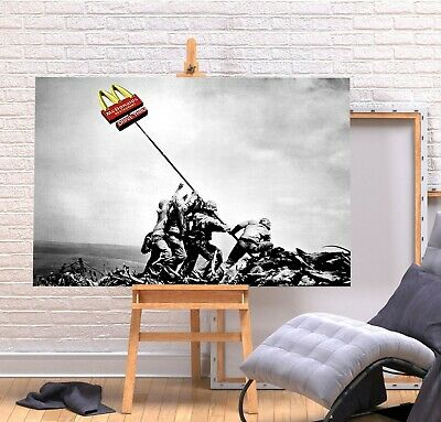 Banksy Mcdonalds Flag- Deep Framed Canvas Wall Art Graffiti  Print- Red Yellow