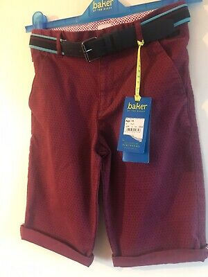 Brand New Boys Plum Ted Baker Chino Shorts Aged 10