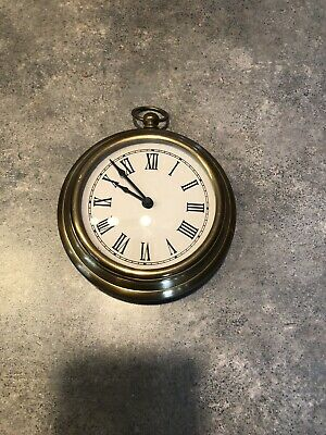 Vintage Large Brass Wall Clock Pocket Watch—Made in India—NICE