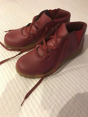 Red Leather Upper Cotton Traders ladies ankle boots size 6 worn once