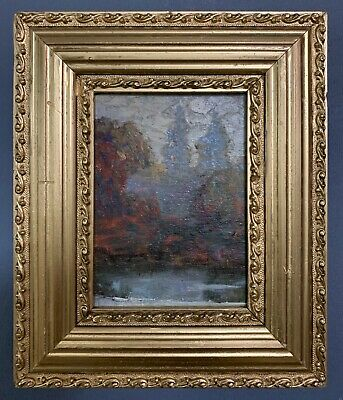 Antique French Impressionist Oil On Board Painting In Gold Gilt Frame