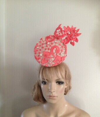 Ivory Coral hat fascinator hats beret feather wedding ascot fascinators bride