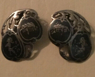 Nice Sterling silver & niello vintage Art Deco antique Sian Clip On Earring