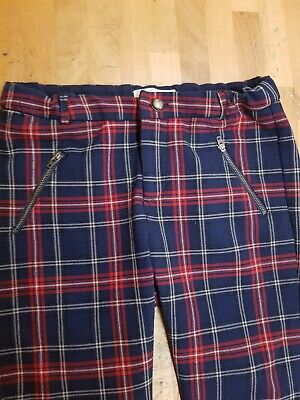 Zara Girls Tapered Tartan Trousers Blue And Red Age 13/14