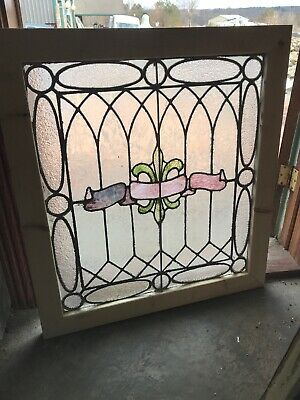 Sg 3244 Antique Stained Glass Landing Window 31 x 34.25