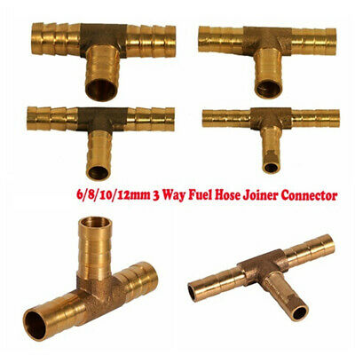 Vehicle 3 Way Pipe Connector Hose Joiner Solid Brass T Shape Fuel Durable