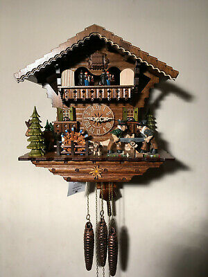Black Forest Musical Mechanical Cuckoo Clock, Dancers, Wood Sawers & Waterwheel