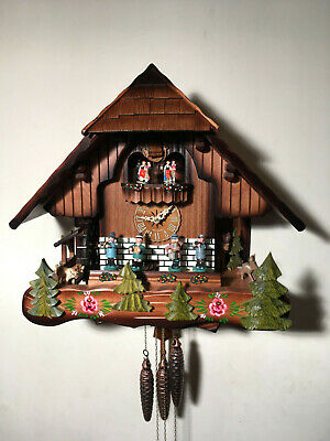 Black Forest 46cm Musical Mechanical Cuckoo Clock, Dancers Music Band,Waterwheel