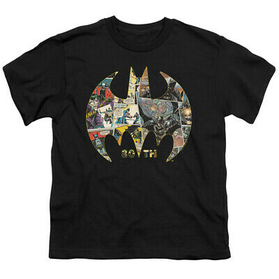 Batman Kids T-Shirt 80th Anniversary Shield Black Tee