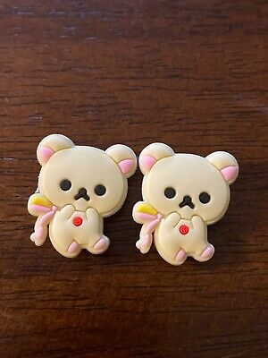 White Teddy Bear Pink Cream Charms For Jibbitz Bracelet Crocs Shoes Lot 2 Easter