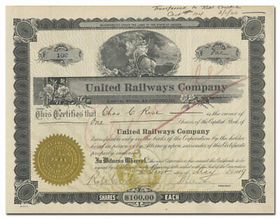 United Railways Company Stock Certificate (Oregon, Rare Issued Piece)
