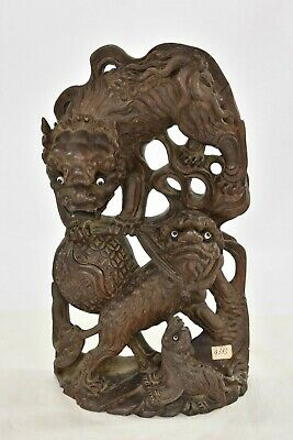Asian Chinese Wooden Carving / Carved Statue Foo / Fu Dog Lion, Wall Decoration