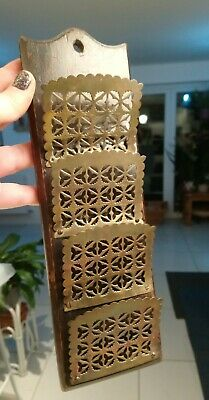 Late Victorian Or Edwardian Wood & Fretwork Brass Letter Rack Wall Mounted