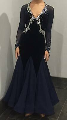 """Navy Ballroom Dancing Dress /Gown Size AU 4-8 """"Made with SWAROVSKI CRYSTALS"""""""