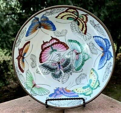 Antique Vtg Asian Chinese Porcelain Encased Brass Hand Painted Butterflies Bowl