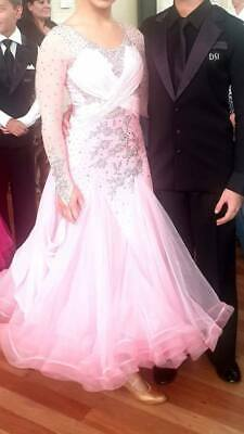 """Soft Pink Ballroom Dancing Dress/Gown Size AU 4-6 """"Made with SWAROVSKI CRYSTALS"""""""