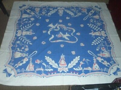 OOAK ? Vintage Printed Tablecloth French W Tag Rare symbolic costume women birds