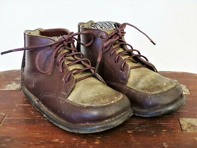 Vintage BROWN LACE Leather CHILDREN'S Doll BABY Shoes Moccasin Boots WORN #1
