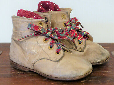 Vintage Beige PLAID LACE Leather CHILDREN'S Doll BABY Shoes Boots WORN #3