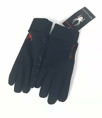 NWT Spyder Womens Gloves  Large XL Black with Spyder Logo Polyester Spandex NEW