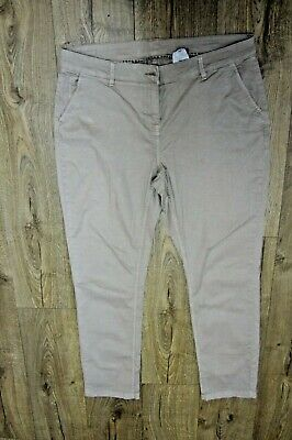 NEXT Straight Fit Ladies beige Chino Trousers  98% Cotton, 2% Elastane. Size 14