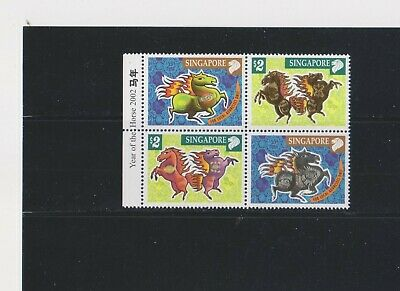 """Singapore, 2002, """"Year Of Horse"""" Block Of 2 Stamp Sets Mint Nh Good Condition"""