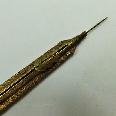 dated 1873 SEWING tool sliding double ended stiletto / hook ANTIQUE BRASS