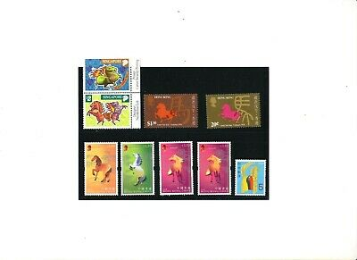 """H. K., Singapore, Japan, 1978-2002, """"Year Of Horse"""" 4 Differ Stamp Sets Mint Nh"""