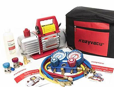 Kozyvacu AUTO AC Repair Complete Tool Kit with 1-Stage 3.5 CFM Vacuum KZTA35011