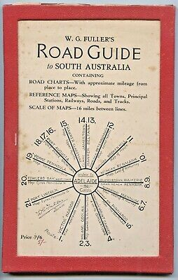 C1920'S CARD WALLET W G FULLER'S ROAD GUIDE TO STH AUST PULL OUT CARD MAPS i30