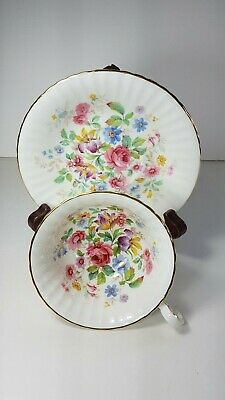 Vintage Paragon Tea Cup and Saucer. Queens Garden. Scalloped. Floral Pattern.